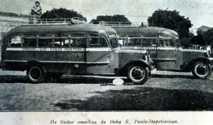 Em 1934, ônibus da Empresa Horminda, que fazia a linha São Paulo-Itapetininga. (Acervo MIS-I – Museu da Imagem e do Som de Itapetininga).