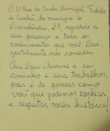 Agradecimentos EMEF Euclides da Cunha
